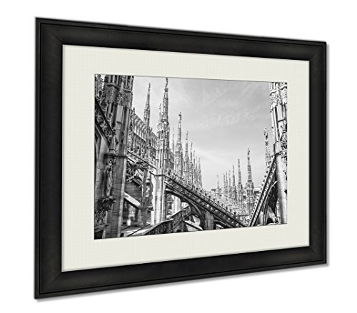 Ashley Framed Prints Duomo Milan HDr, Wall Art Home Decoration, Black/White, 30x35 (frame size), AG5900644 by Ashley Framed Prints