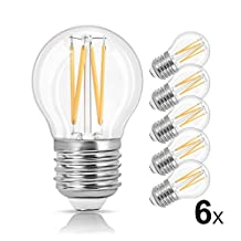 LVWIT 6 Pack G45 LED Filament Bulb 4W 470 Lumens LED Edison Light Bulb E26 Medium Base 2700 Warm White 40 Watt Incandescent Equivalent Non-dimmable UL-Listed
