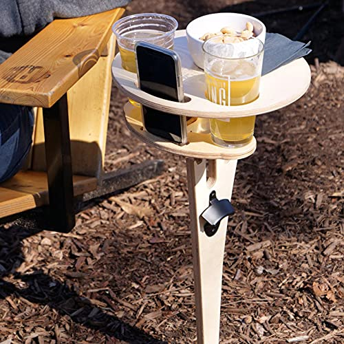 Bnaona Portable Outdoor Wine Table Stake Portable Folding with Storage, Beer Wood Wine Glasses & Bottle Table for Outside Backyard Entertainment Beach Camping