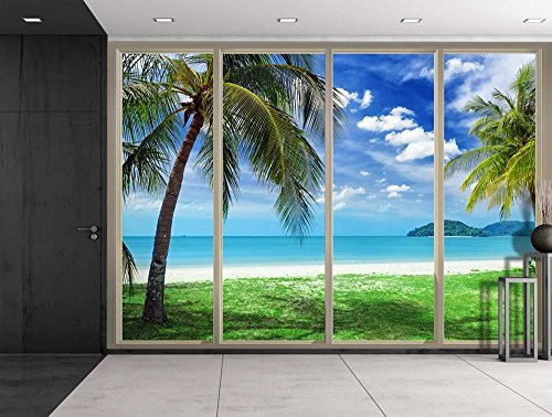 Palm Trees Overlooking the Ocean and Other Islands Viewed From Sliding Door Creative Wall Mural Peel and Stick Wallpaper
