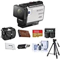 Sony FDR-X3000 4K Action Camera, with Balanced Optical SteadyShot, - Bundle With 64GB MicroSDHC U3 Card, Camera Case, Spare Battery, Tripod, Dual Charger, Cleaning KIt, Card Case, Card Reader