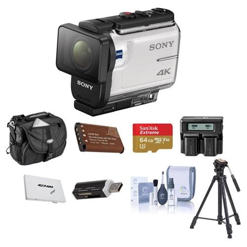 Sony FDR-X3000 4K Action Camera, with Balanced Optical SteadyShot, Bundle with 64GB MicroSDHC U3 Card, Camera Case, Spare Battery, Tripod, Dual Charger, Cleaning KIt, Card Case, Card Reader