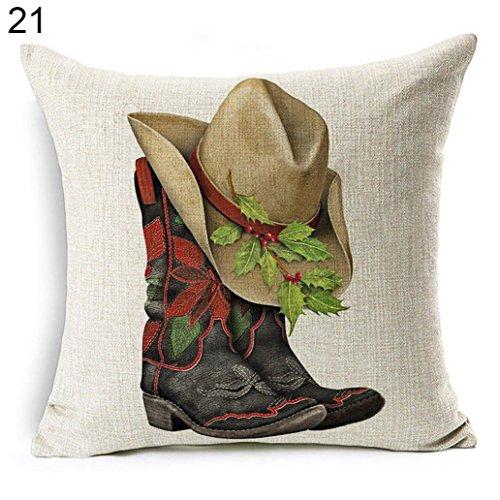 Acamifashion Christmas Dog Santa Claus Reindeer Cushion Cover Throw Pillow Case Home Sofa Decors (#21 Cowboy -
