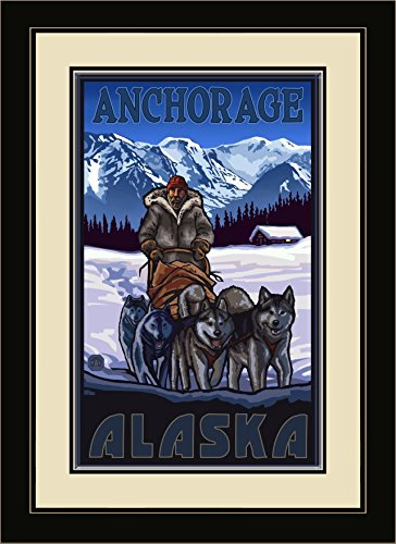 Northwest Art Mall PAL-7487 FGDM Anchorage Alaska Sled Dogs Framed Wall Art by Paul A. Lanquist, 16