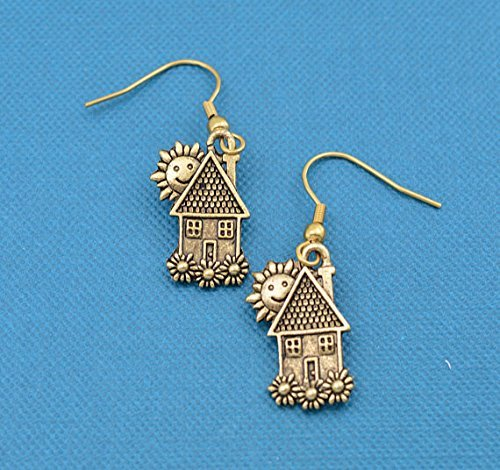 House earrings in 24K gold plated pewter. Gift for real estate agent. Real estate gifts. -