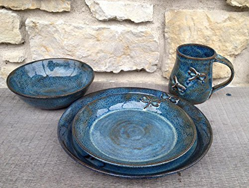Dragonfly Pottery 4 Piece Stoneware Wheel Thrown Place Setting in Rutile Blue & Amazon.com: Dragonfly Pottery 4 Piece Stoneware Wheel Thrown Place ...