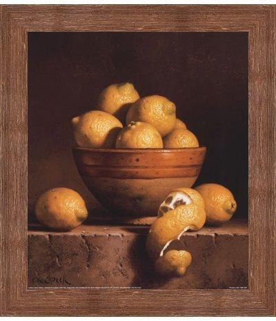 - Framed Lemons in a Bowl with Peel- 12x14 Inches - Art Print (Brown Barnwood Frame)