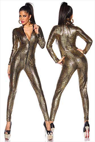 Llatex Catsuit Colorful House Womens Costume Snake Skin Print Front Zipper Leather Tight Jumpsuit Catsuit Halloween Costumes,Gold,XL for $<!--$42.36-->