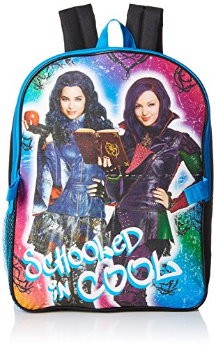 Disney Fairy Handbag (Disney Little Girls Descendants Backpack With Lunch, Black, One Size)