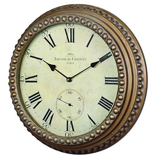 Derby Wall Clock, Vintage Wall Clock for Outdoor Home Gold