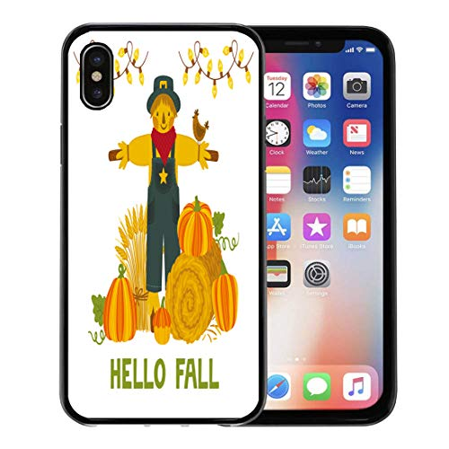 Semtomn Phone Case for Apple iPhone Xs case,Autumn Pumpkins Hay Bale Wheat Sheaf Scarecrow and Text Hello Fall Bright Harvest Festival for iPhone X Case,Rubber Border Protective Case,Black