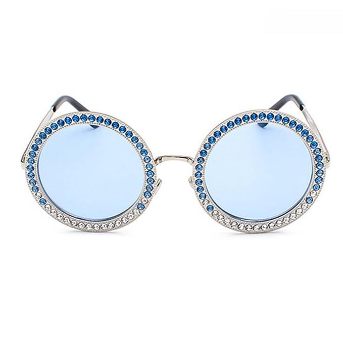 Gafas de sol redondas de gran tamaño con diamantes de imitación para mujer  Elegante marco grande marca diseñador Eye Wear negro azul lentes de moda  para ... c3d07490bc32