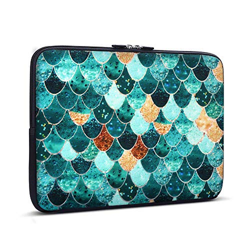 Holilife Laptop Sleeve Mermaid Scale, Neoprene Elegant Protective Notebook Bag Carrying Bag Compatible 11-11.6 inch MacBook Air, MacBook 12-Inch with Retina Display, Ultrabook Netbook - 11 Inch Sleeve Netbook