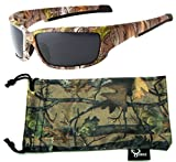 Hornz Brown Forest Camouflage Polarized Sunglasses for Men Full Frame Strong Arms & Free Matching Microfiber Pouch – Brown Camo Frame - Smoke Lens
