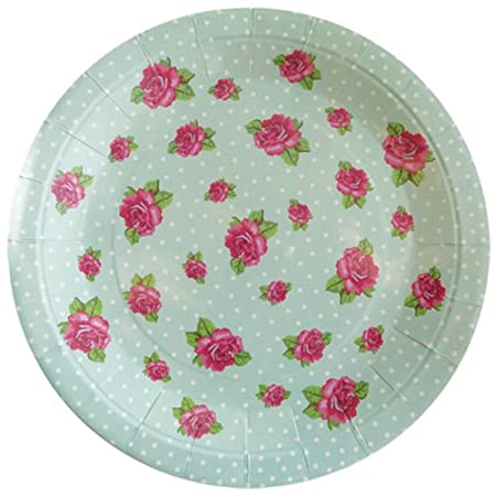 Vintage Rose Party Plates - Duck Egg - PKT 8  sc 1 st  Amazon UK & Vintage Rose Party Plates - Duck Egg - PKT 8: Amazon.co.uk: Kitchen ...
