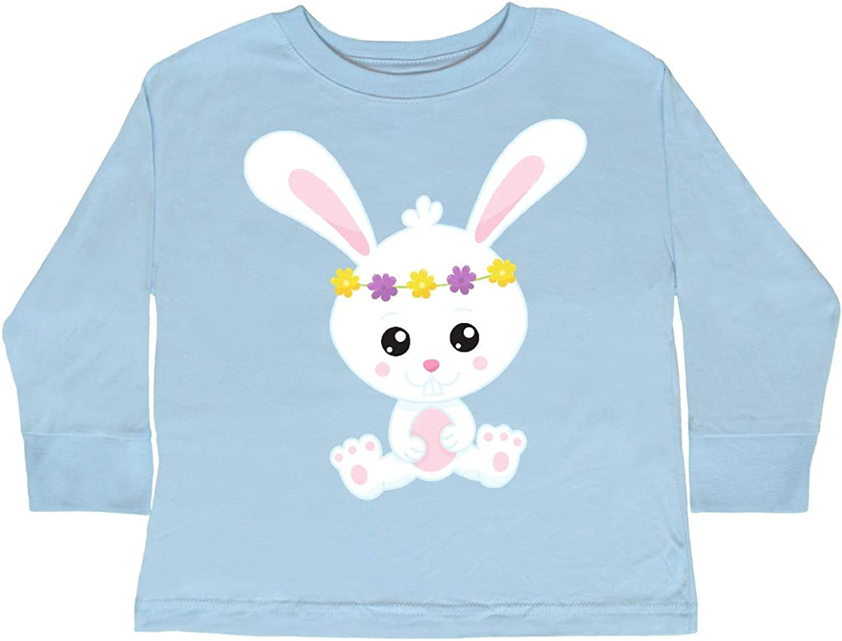 Bunny with Flower Toddler Long Sleeve T-Shirt inktastic Cute Bunny White Bunny