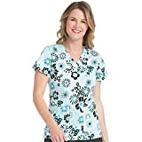 Med Couture Notch Neck Scrub Top Breezy Blooms, Medium
