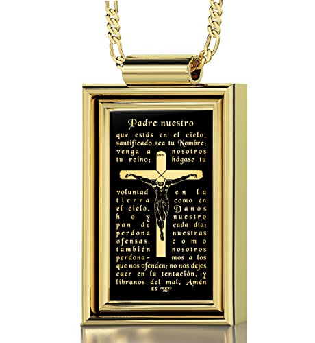 Gold Plated Crucifix Necklace for Men with The Lord's Prayer Inscribed in 24k Gold in Spanish onto a Black Onyx Christian Pendant, 20'' Gold Filled Chain by Nano Jewelry