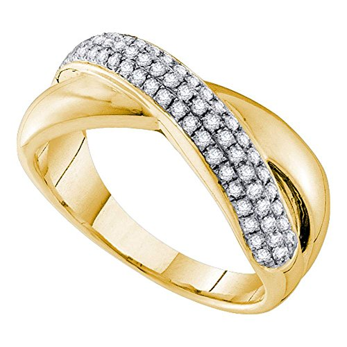 Pave Diamond Crossover (14kt Yellow Gold Womens Round Pave-set Diamond Crossover Band Ring 3/8 Cttw)