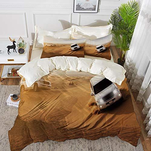 bedding - Duvet Cover Set ,Sports Decor,Race in African Desert Safari Adventure Exotic Hobby Activity Picture,Sand,Hypoallergenic Microfibre Duvet Cover Set 260 x 220cm with 2 Pillowcase 50 X 80cm ()