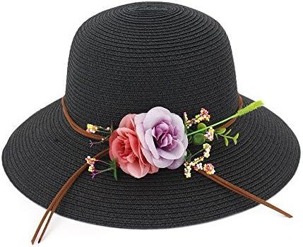 Color : Black, Size : 56-58CM Fashion New Women Summer Sun Hat Fashion Beach Hat Folding Comfortable