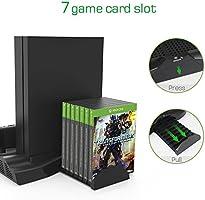 InnoGear Soporte Vertical para Xbox One X Cargador con Ventilador de Refrigeración Estación de Carga de Controladores Dobles y 3 Puertos USB Juegos de Estación de Carga Accesorios (SOLAMENTE para Xbox One