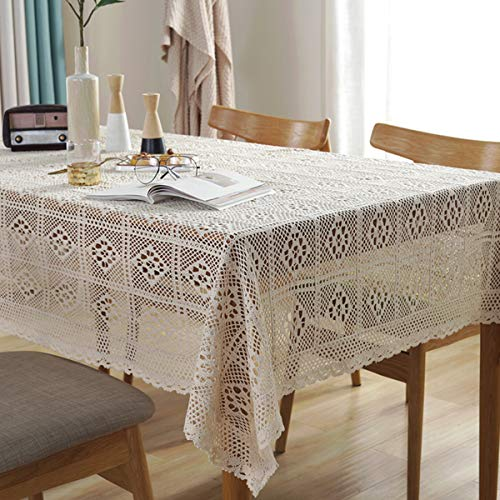 Bringsine Vintage Handmade Crochet Diamond Tablecloth Decorative Macrame Lace Table Cover Layer for Kitchen Dinning Pub Bedside Tabletop Sheet Decoration(Beige, Rectangle/Oblong, 55 x 71 Inch)