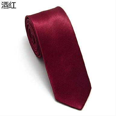 GYJIL Corbata de seda para hombre, 5 cm, color rojo vino: Amazon ...