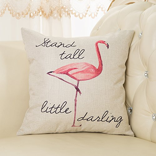 """Fjfz Stand Tall Little Darling Watercolor Flamingo Motivational Sign Girly Inspirational Decoration Nursery Décor Cotton Linen Home Decorative Throw Pillow Case Cushion Cover Sofa Couch, 18"""" x 18"""""""