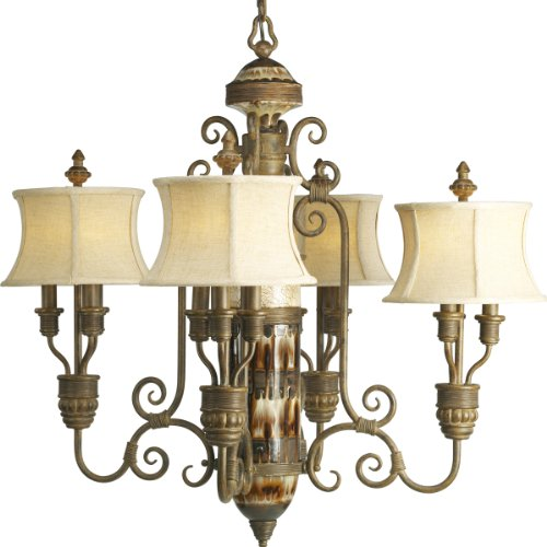 - Progress Lighting P4399-111 Twelve-Light Chandelier with Harvest Linen Shades, Desert Sand