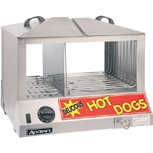 Adcraft HDS-1200W Side-by-Side Hot Dog & Bun Steamer, 18.25-Inch x 14.5-Inch x 15-Inch, 1200w,...
