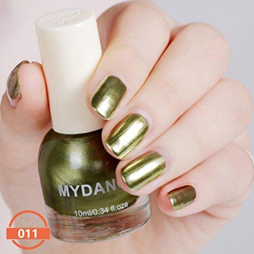 - LtrottedJ 10ml Flow Gold Mirror Chrome Effect Nail,Polish Foil Nails Art Glitter Silver (I)