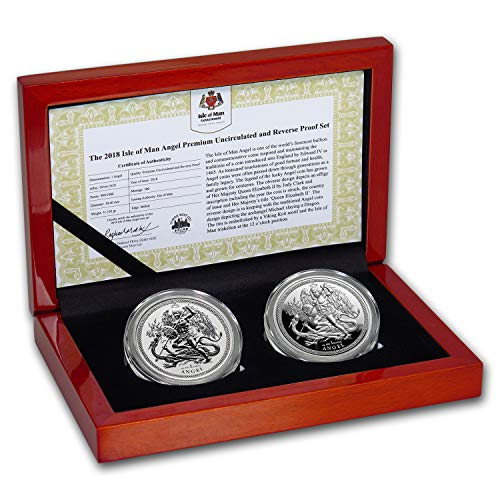 (UK 2018 Isle of Man 2-Coin Silver Angel Proof/Reverse Proof Set Brilliant Uncirculated)