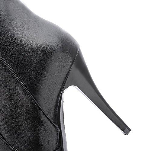 AllhqFashion Mujeres Puntera en Punta Tacón Fino Caña Alta Botas con Ornamento Metal Negro