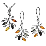 Multicolor Amber Sterling Silver Branch Dangling Fishhook Earrings Pendant Necklace Set Chain 18''