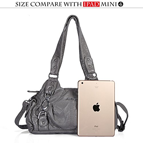 Roomy Bag Fashion grey Hobo Women Satchel Bag Shoulder Akw22024 Top Handbag PU 55 Handle Bag Multiple Pockets Street Ladies' Tote tqgfEcEw