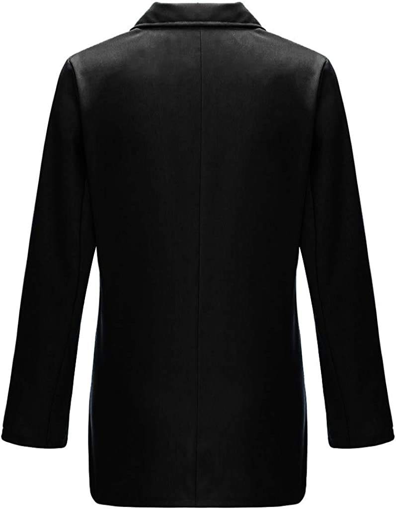 nikunLONG Womens Ladies Blazer Solid Coat Outerwear urn Down Collar Jacket Long Sleeve Coat