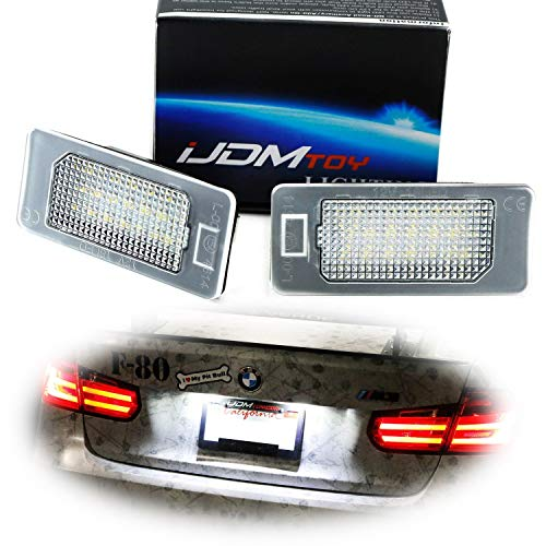 iJDMTOY OEM-Fit 3W Full LED License Plate Light Kit For BMW 1 2 3 4 5 Series X3 X4 X5 X6, Powered by 24-SMD Xenon White LED & CAN-bus Error Free ()