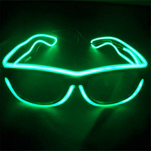 el glasses, el wire with 3v AAA portable controller (Green)