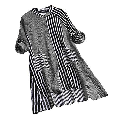 Women Fashion Elegant Casual Button Down Shirt Dresses Striped Printed Long Roll Sleeve Mini Dress by Lowprofile Black -