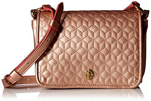 (Anne Klein Lion Ring Small Quilted Flap Crossbody Pearlized, Rose Gold/Rose Gold)