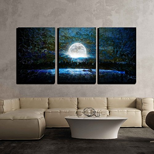 China Wall Brush - wall26 3 Piece Canvas Wall Art - Glowing Full Moon over a Blue Background with Brush Strokes - Modern Home Decor Stretched and Framed Ready to Hang - 16