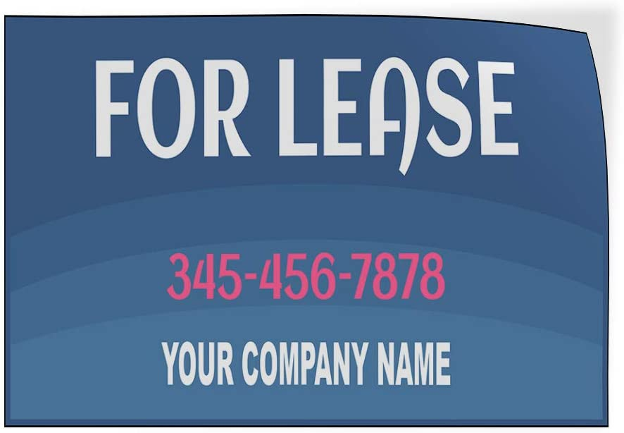 Custom Door Decals Vinyl Stickers Multiple Sizes for Lease Phone Number Company Name Business for Lease Outdoor Luggage /& Bumper Stickers for Cars Blue 45X30Inches Set of 2