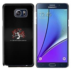 Qstar Arte & diseño plástico duro Fundas Cover Cubre Hard Case Cover para Samsung Galaxy Note 5 5th N9200 (El norte no olvida Dios Viejo)