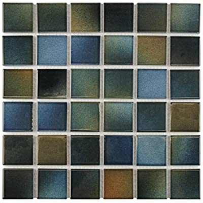 """SomerTile FKOSQM23 Cavalier Quad Brook Porcelain Floor and Wall Tile, 12.5"""" x 12.5"""", Blue/Brown/Green"""