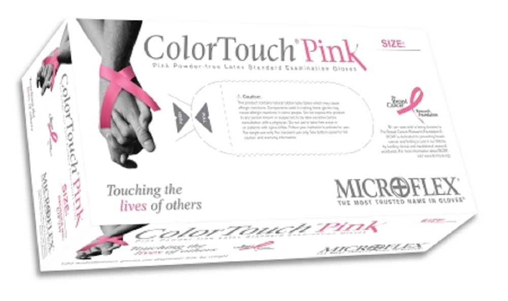 Microflex CTP-233-S Color Touch Pink Powder-Free Exam Gloves, S, Latex (Pack of 100)