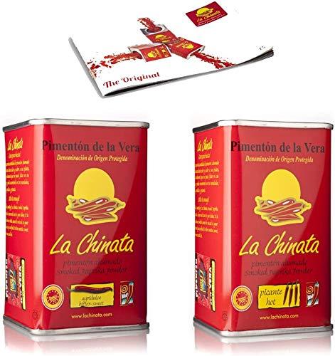Nuevo Pimentón de La Vera Ahumado pack La Chinata lata Agridulce 160g y lata 160g Picante