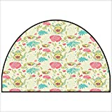 Entrance Hall Carpet Victorian Style Vintage Teapot with Leaves Flowers Rose Petals Print
