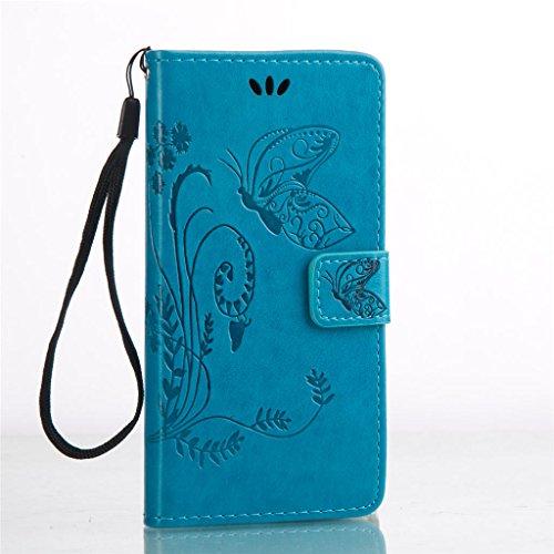Erdong® Magnético Folio Flip Caso Con pata de cabra titular de la tarjeta Para Sony Xperia X F5122, Elegant Simple Book-style [Azul flor de mariposa] patrón de impresión cuero del soporte Folio Pouch