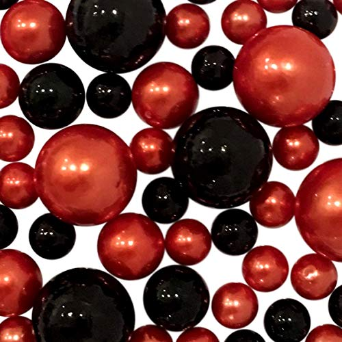 Floating Halloween Orange and Black Pearls - Jumbo & Assorted Sizes Vase Fillers for Centerpiece Decorations + Includes Transparent Water Gels ()